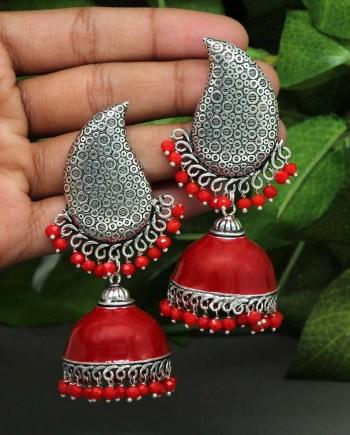Meenakari earrings with beads