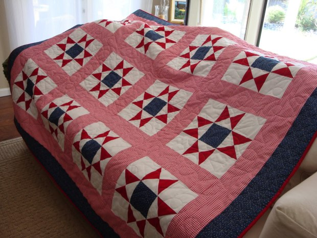 This is a quilt using the Ohio Star quilt block