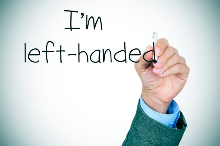 left-handed writting the text I am left-handed