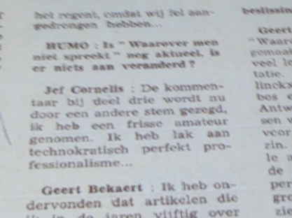 Jef Cornelis in Humo 1969 citaat 5/6