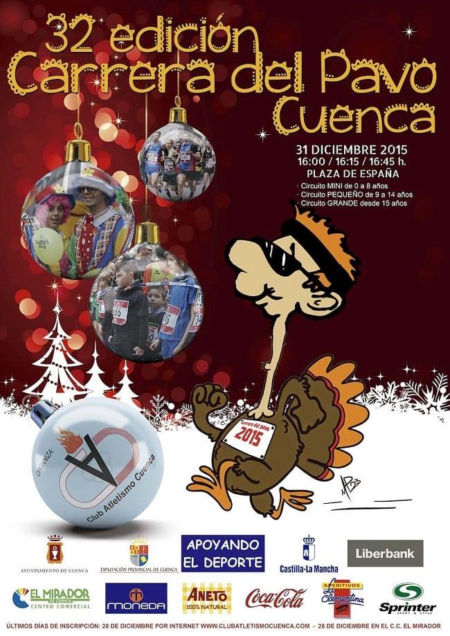 Cartel de la Carrera del Pavo 2015, en Cuenca