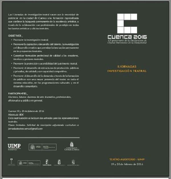 Jornadas de investigacion teatral en Cuenca