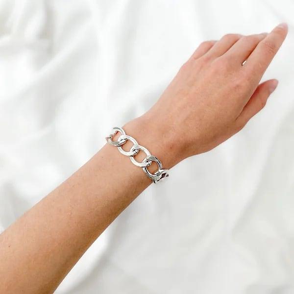 браслет жіночий срібло велике плетіння