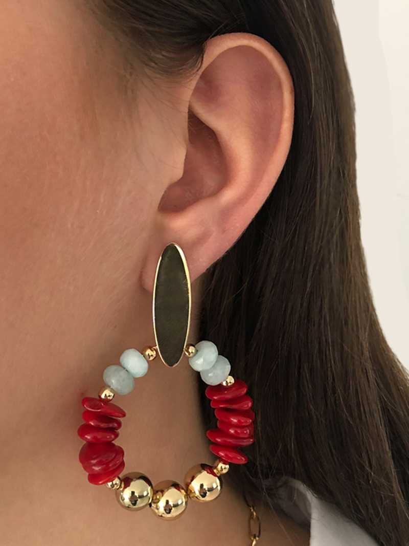 AFKE STATEMENT OORBELLEN - MINT RED - N20SS115 c - ZATTHU JEWELRY