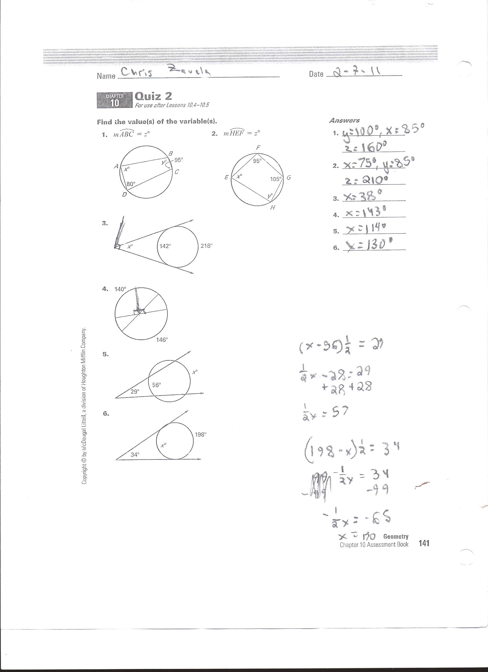 Honors Geometry Chapter 10 Quiz