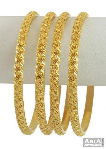 22K Indian Gold Bangle Set4 Pcs AjBa53792 22K Indian