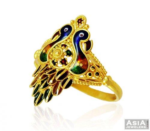 22K Indian Peacock Ring AjRi58375 22K Gold Indian Ring