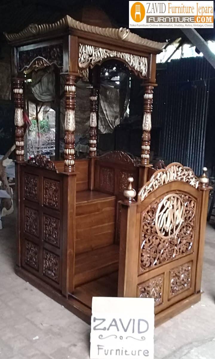 mimbar masjid kubah ukiran baru - Jual Mimbar Kubah Depok Ukiran Untuk Masjid Kayu Jati Solid