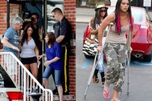 Rough Weekend at the Jersey Shore! JWoww on Crutches, Deena Arrested  2