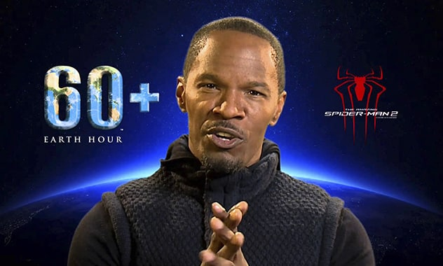 """JAMIE FOXX JOINS HIS CO-STARS OF """"THE AMAZING SPIDER-MAN 2"""" AND EARTH HOUR SUPER HEROES IN BLUE REVOLUTION 1"""