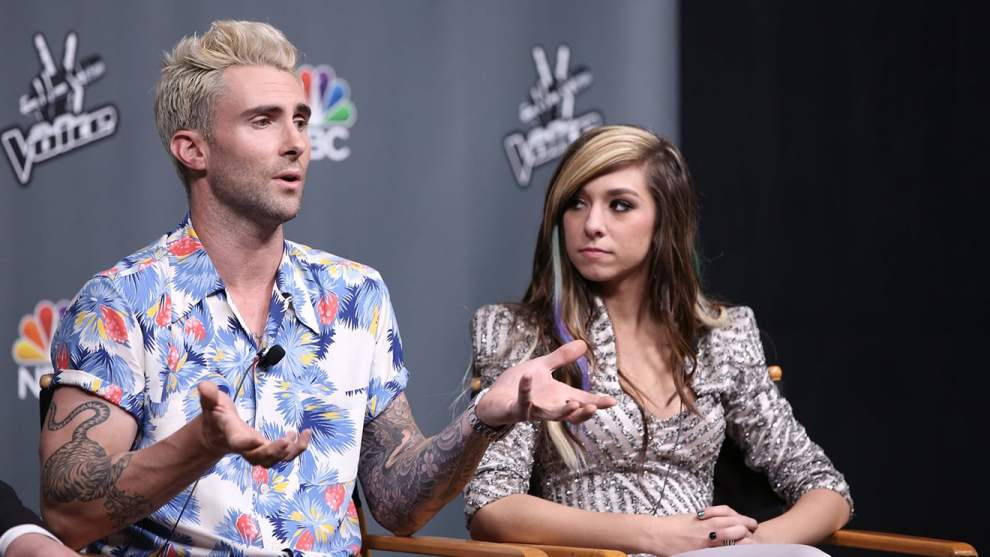 Christina Grimmie and coach Adam Levine
