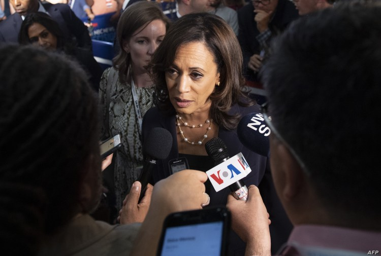 Kamala Harris speaks in the spin room after the first Democratic candidates' debate in Miami.