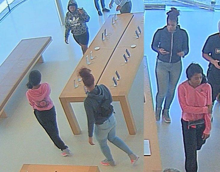 Ladrões roubando a Apple Broadway Plaza, na Califórnia