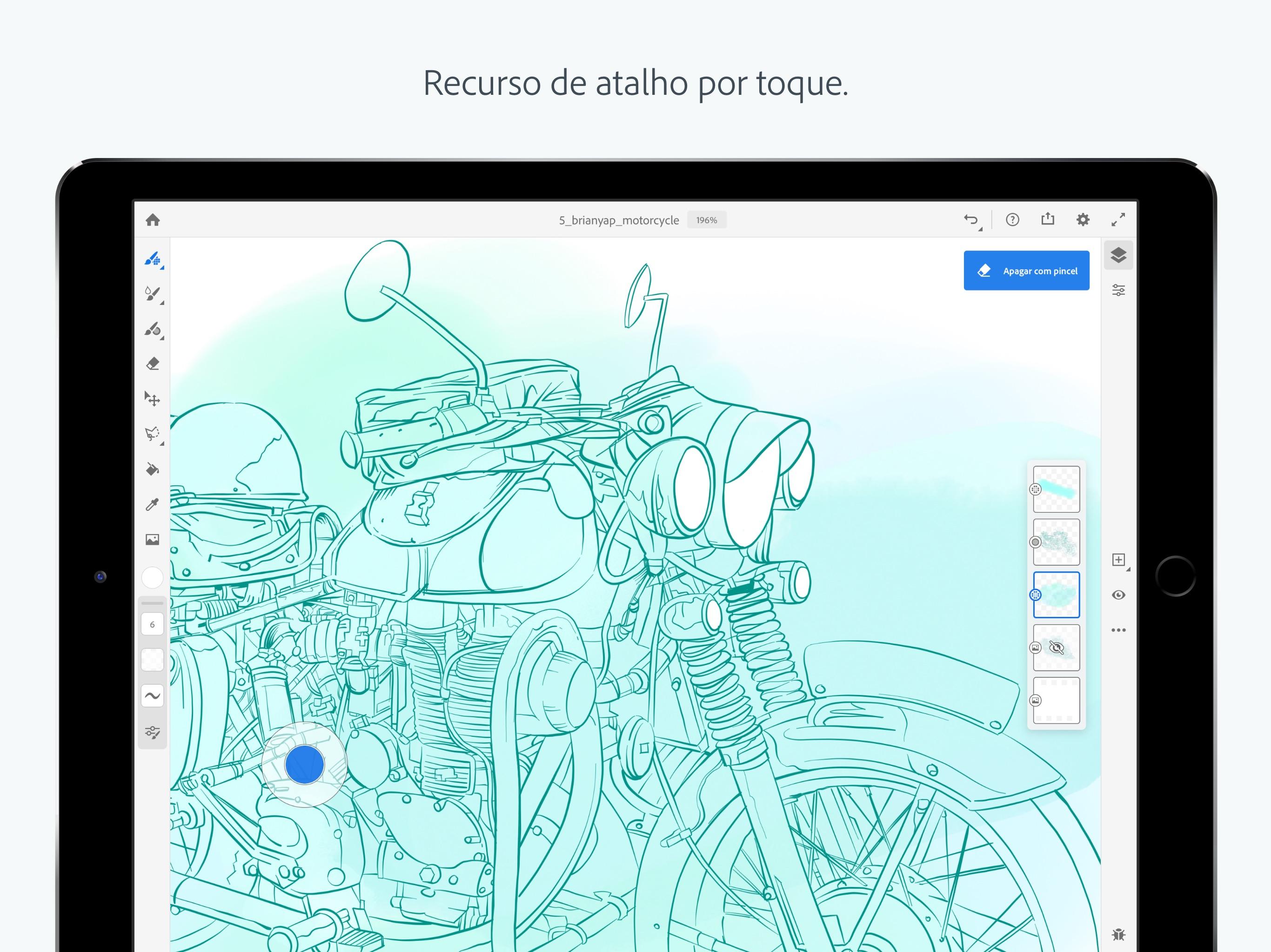 Screenshot do app Adobe Fresco - Desenhe e pinte