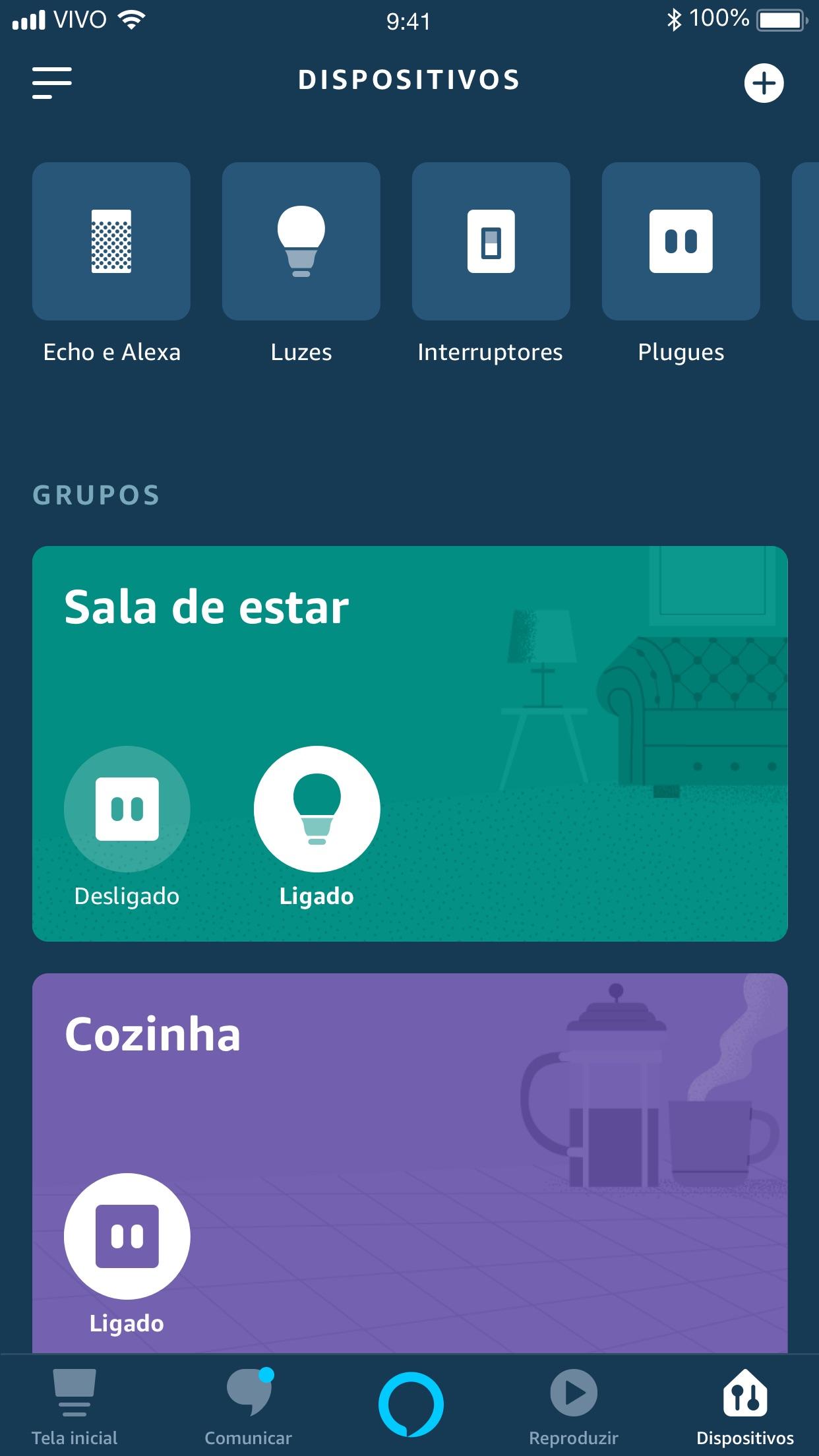 Screenshot do app Amazon Alexa