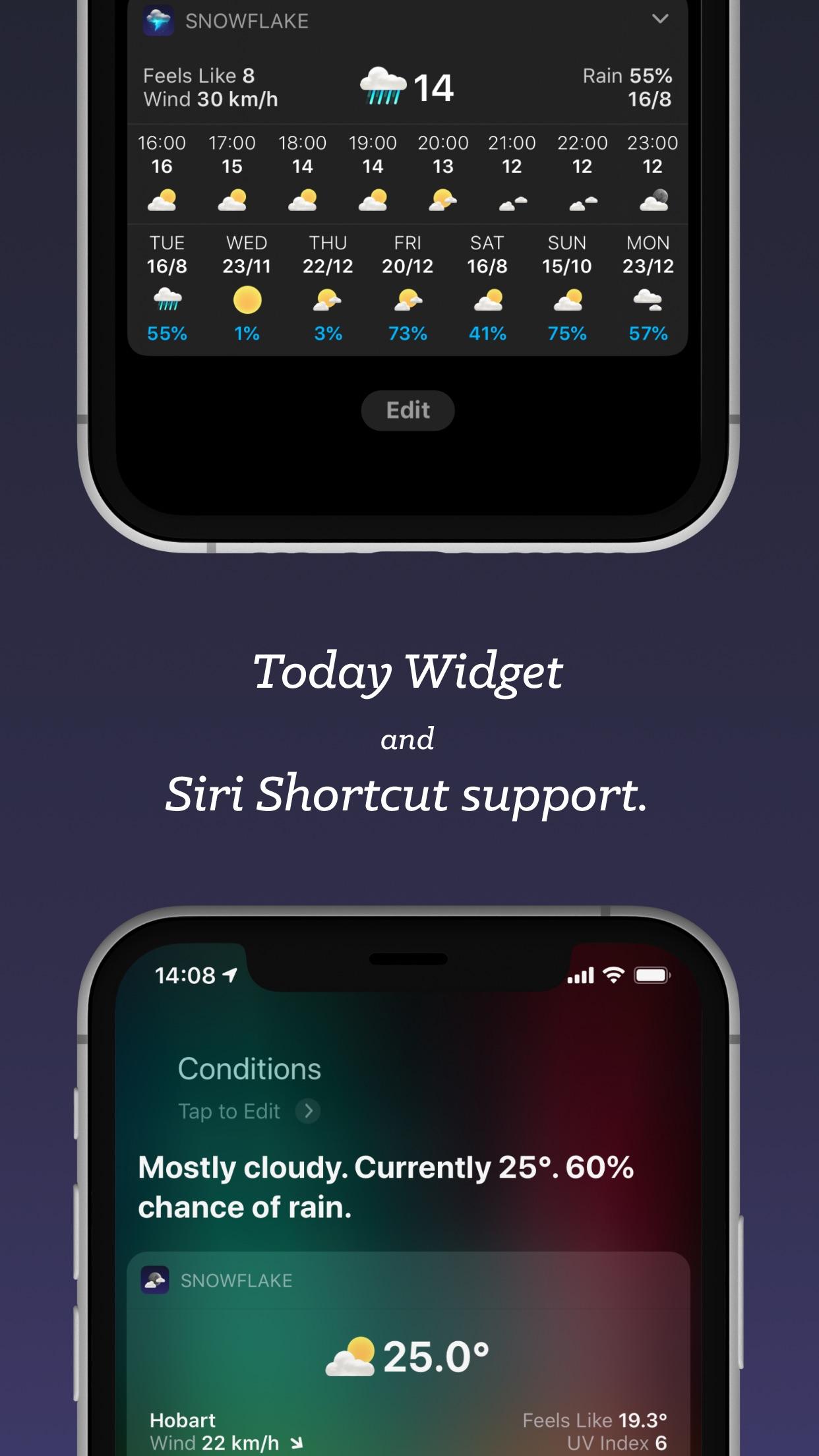 Screenshot do app Snowflake Weather