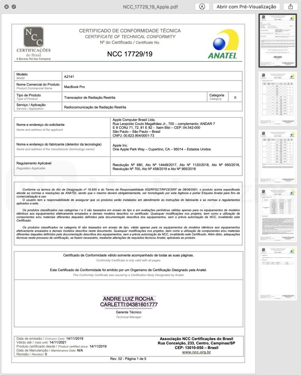 """Certificado de homologação do MacBook Pro de 16"""""""