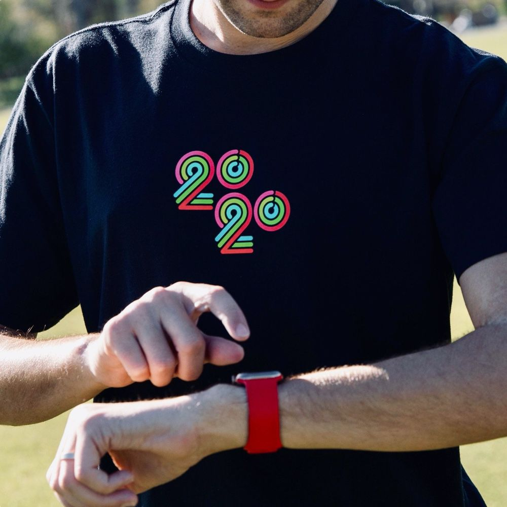 Camisa do desafio para empregados do Apple Watch em 2020