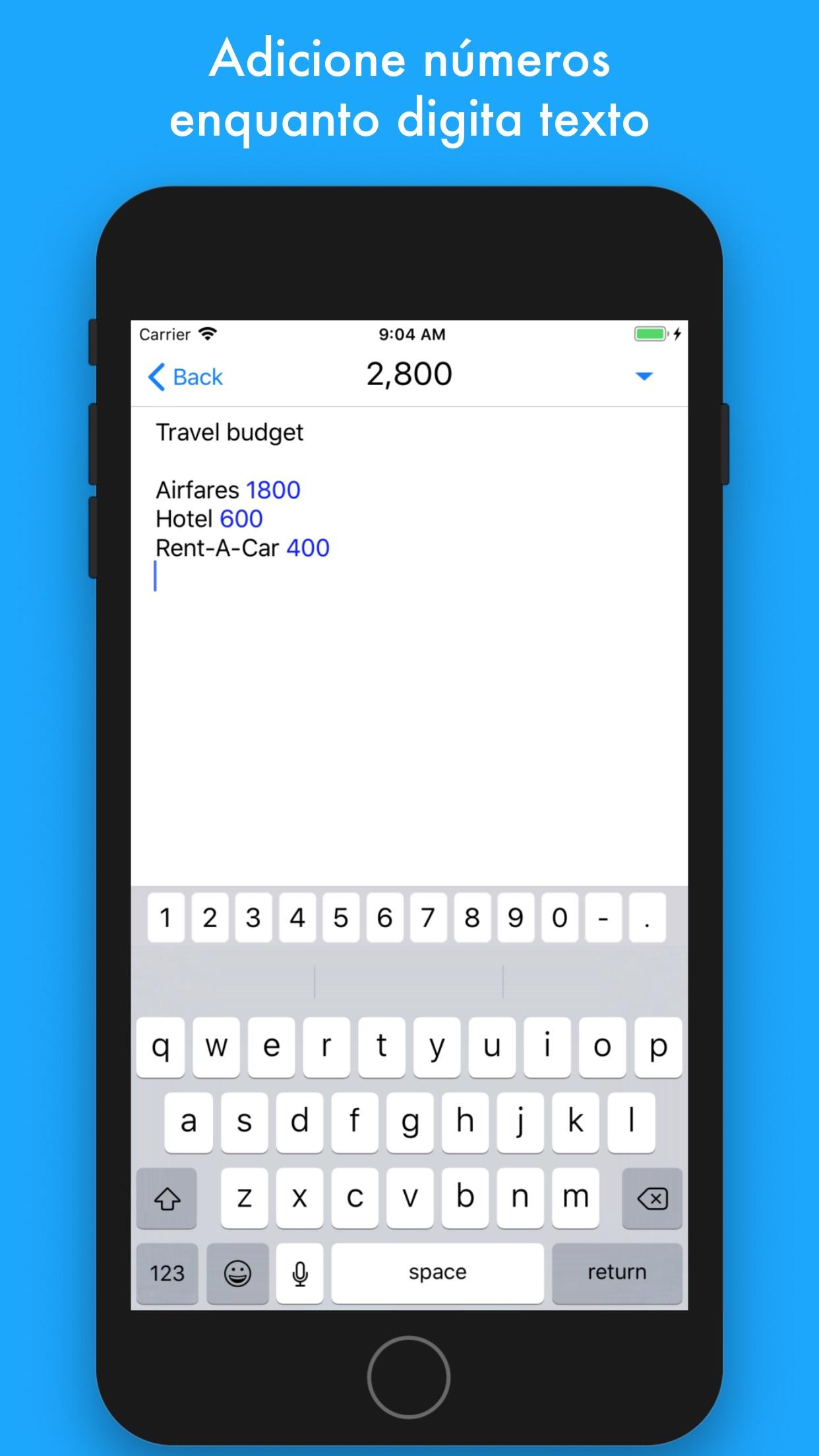 Screenshot do app notally