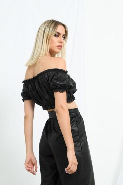 Τοπ cropped eco leather
