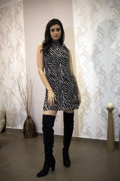 Φόρεμα ζέβρα με πιέτες
