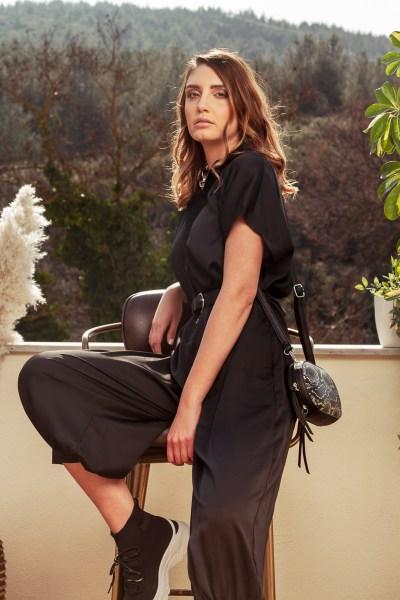 Ολόσωμη φόρμα τύπου σατέν Black
