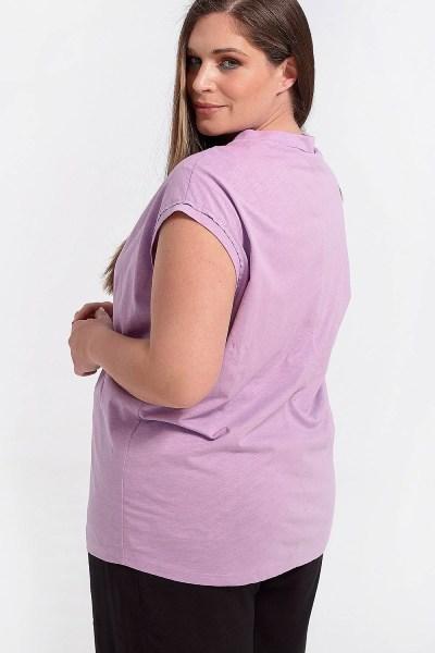Μπλούζα plus size με λαιμόκοψη V λιλά