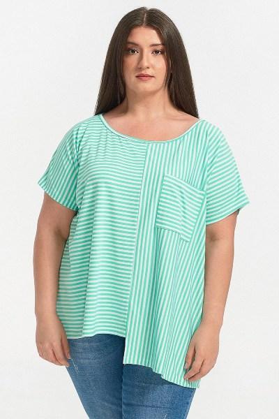 Μπλούζα plus size με τσεπάκι ριγέ μέντα