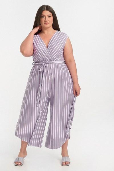 Ολόσωμη φόρμα plus size ριγέ λιλά