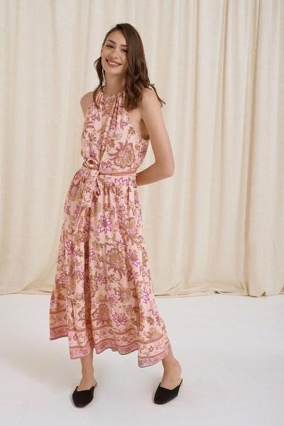 Φόρεμα maxi εμπριμέ με βολάν και δέσιμο στο λαίμο ροζ