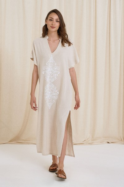Φόρεμα maxi λινό με τύπωμα εκρού