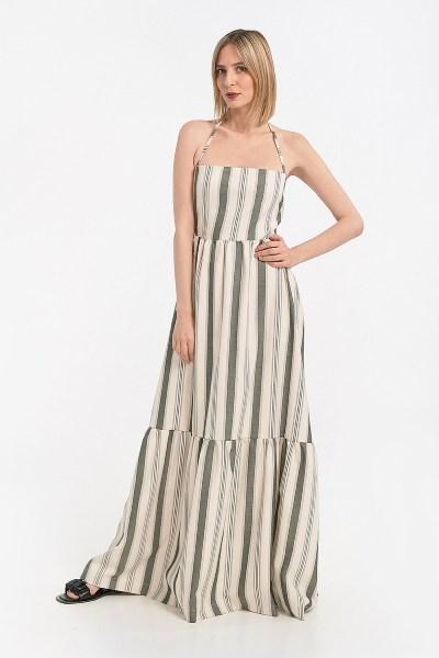 Φόρεμα maxi με δέσιμο πίσω ριγέ