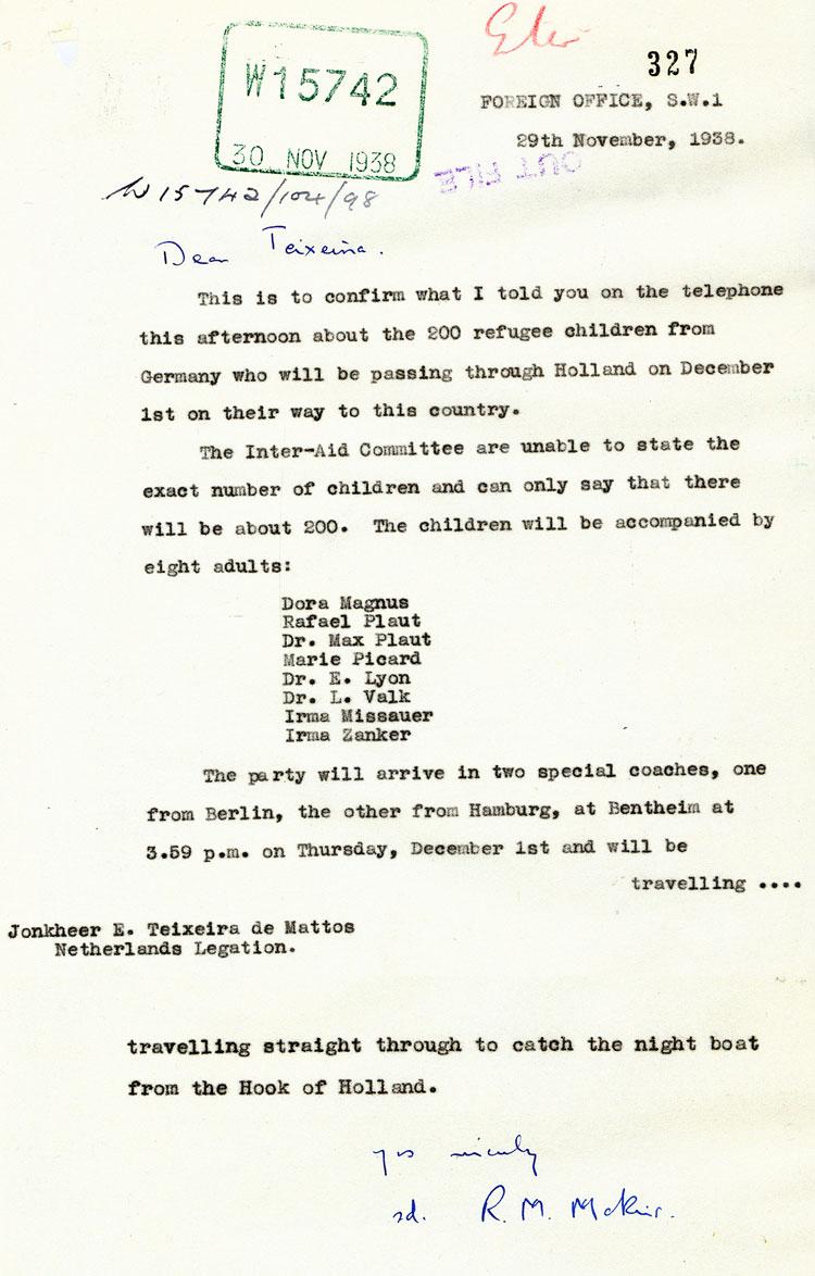 Kindertransport Dokument
