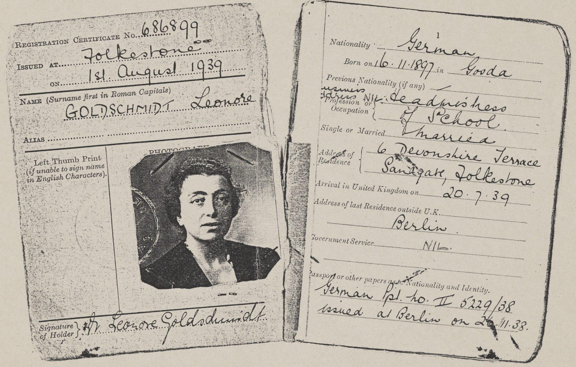 Leonore Goldschmidt Registrierungskarte