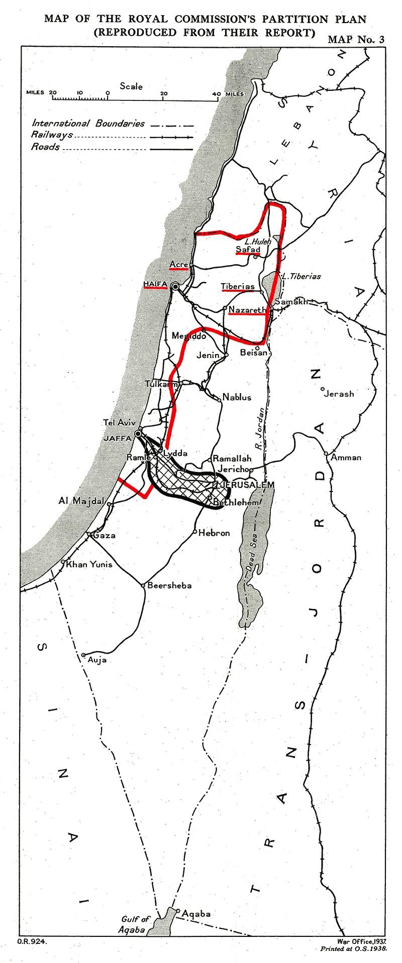 Peel Commission Palestine Map