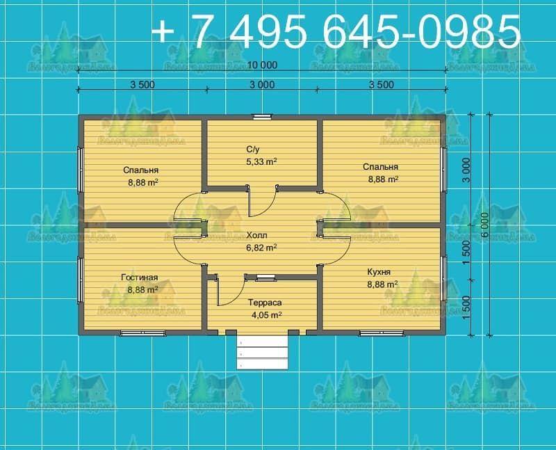 План одноэтажного каркасного дома 10 х 5.5 м