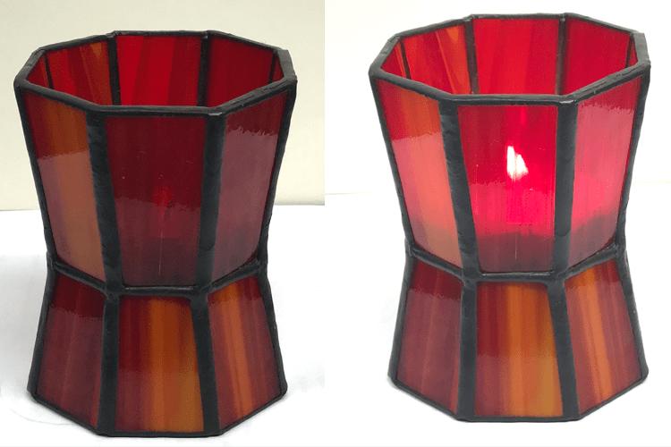 02 - Teelicht oktogonal rot