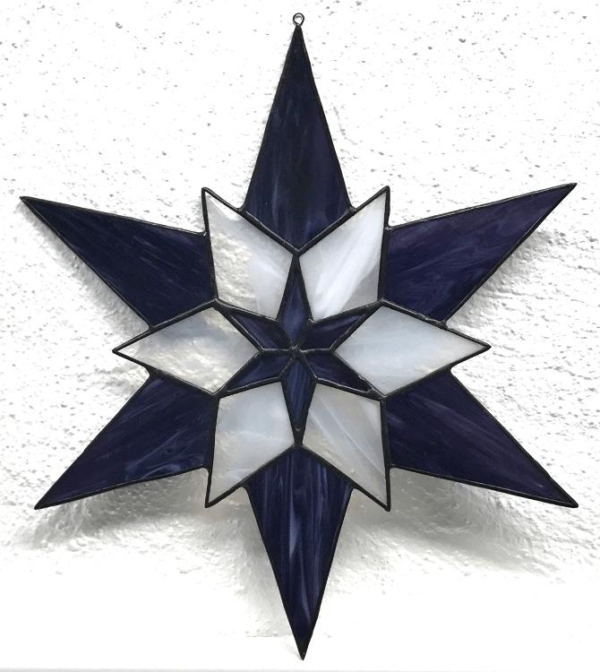 13 - Stern - 6 lilablau meliert + 6 transparent weiß meliert