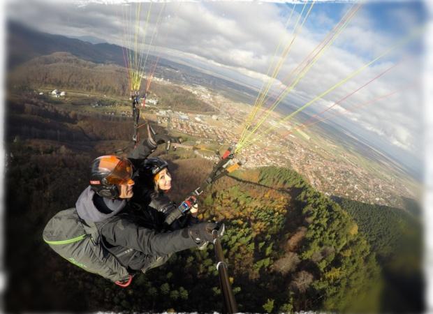 paragliding flight in Transylvania