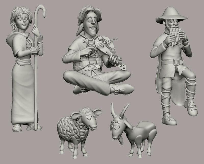 Los personajes de la escena: Galatea, Elicio, Erastro... oveja y cabra!!