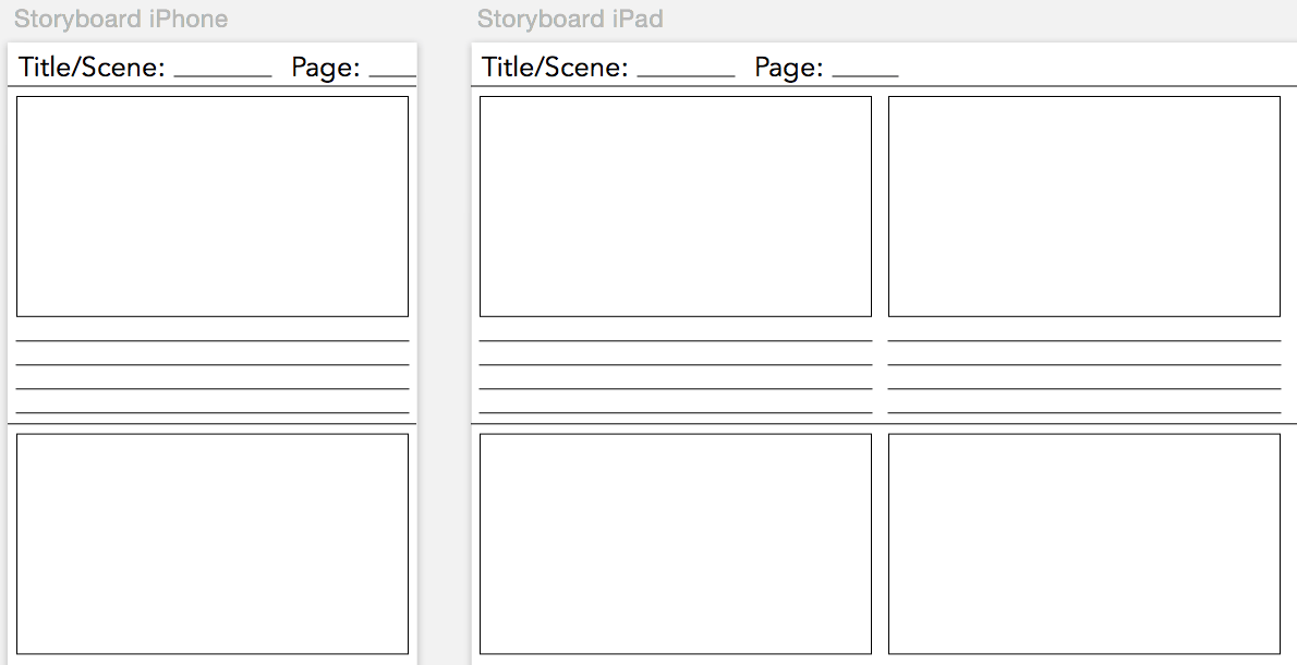 Storyboarding Template Roho4senses