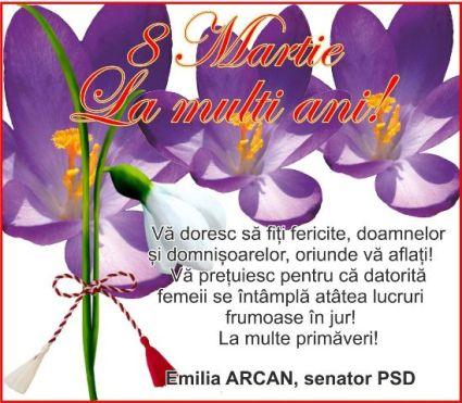 Emilia Arcan, 8 martie