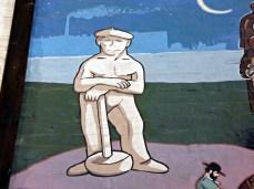 """martillero czyli """"młotkowy"""" - detal z muralu w sali muzealnej"""