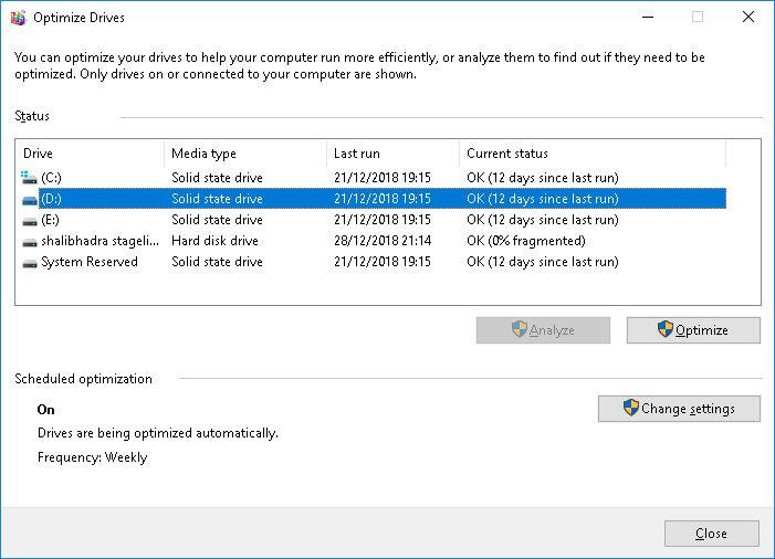 Rechercher si votre lecteur est SSD ou HDD à l'aide du défragmenteur de disque