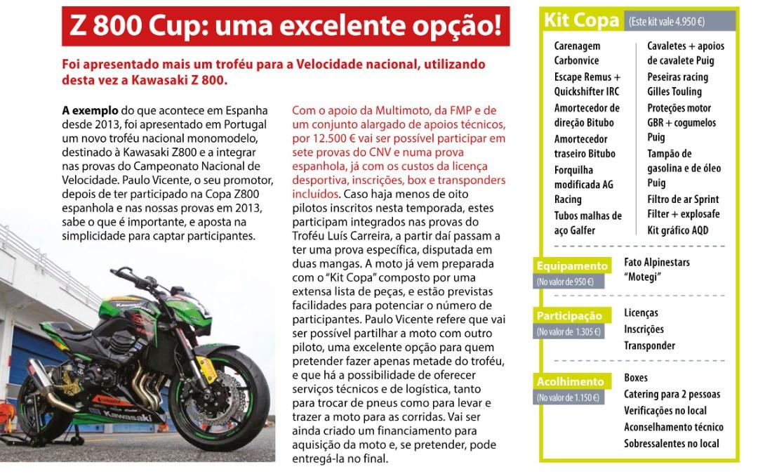 Revista Motociclismo, o destaque da ZCUP PT com a Kawasaki Z800