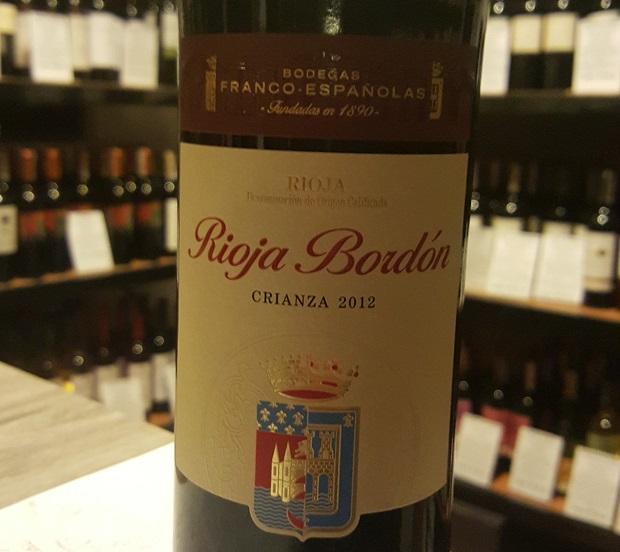 Rioja Bordón Crianza 2012