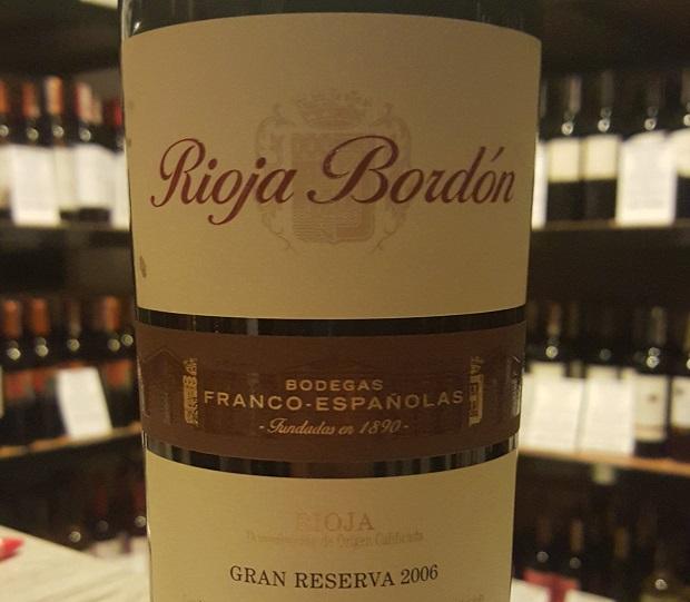 Rioja Bordón Gran Reserva 2006