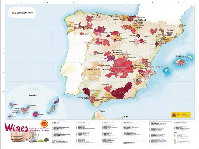 Mapa Hiszpania Wina