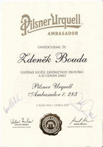 Diplom Pilsner Urquell Ambasador