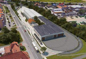 Trať do Líšně, konečná v areálu muzea. Vizualizace DPMB